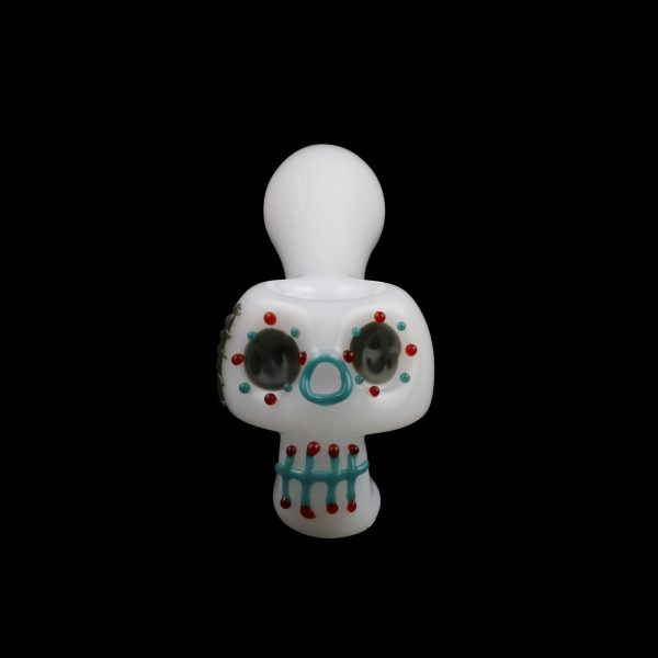 Bone Head Dia de Muertos Glass Pipe
