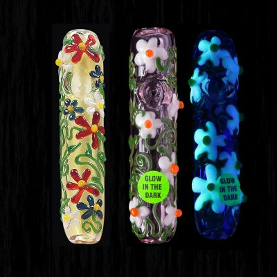 Flower Power Steamroller Glass Pipe