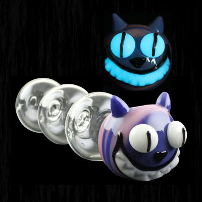 Cheshire Cat Glow in the Dark Typhoon Glass Pipe