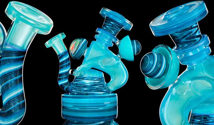 Blue glass pipes