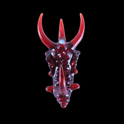 Custom Upgrade Glass Red Elvis and Pomegranate Dragon Pendant